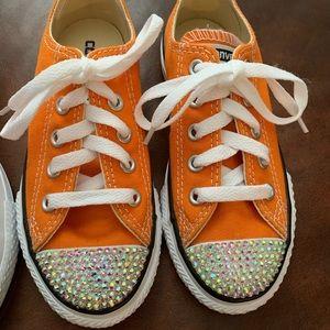 Custom bling orange converse new
